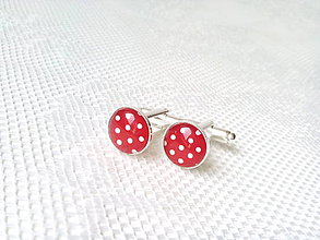 Šperky - Dotted cufflinks (red/white polka dots) - 6652390_