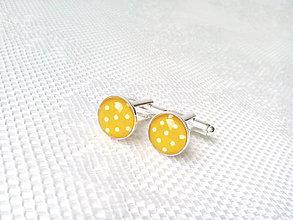 Šperky - Bodkované manžetové gombíky (zlté/biele bodky) - 6652420_