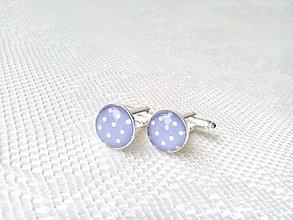 Šperky - Bodkované manžetové gombíky (svetlofialové/biele bodky) - 6652508_