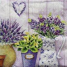 Papier - S685 - Servítky - levandula, srdce, kytica, kvetináč - 6650960_
