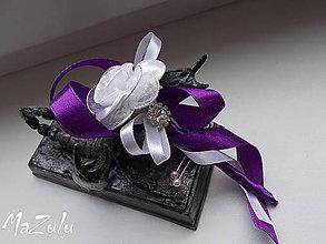 Pierka - svadobné pierko fialovoBiele - 6652827_