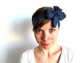 Ozdoby do vlasov - retro textilná čelenka na uväzovanie - 6651082_