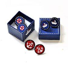 Náušnice - Maľované napichovačky - Námornícke v darčekovom balení - 6650760_