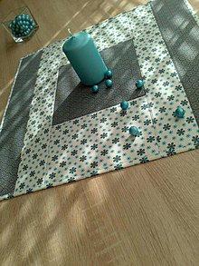 Úžitkový textil - Obrus..tyrkys a kvetinka - 6455617_