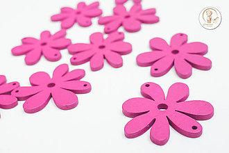 Korálky - Drevený kvet 35x40mm - 6656743_