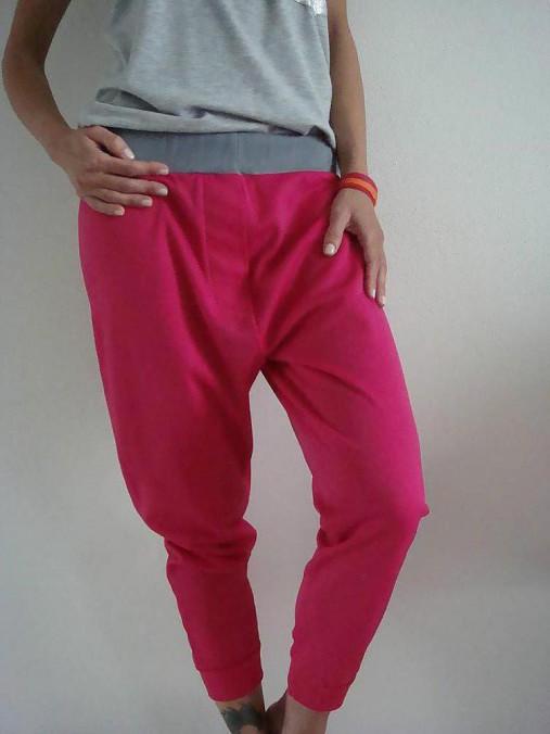 Nohavice - Tepláky HOT  pink - 6657403_