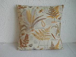 Úžitkový textil - Návlek na vankúš - Papradie hnedé - 6661318_