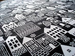 Textil - Bavlna Winter Essentials - domčeky čierne - 6659659_