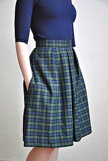 Sukne - Zelená tartanová sukně s podšívkou - 6662416_