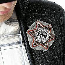 Šperky - plastová brošňa Šerifská hviezda - 6661185_