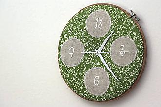 Hodiny - Katka, ručne vyšívané nástenné hodiny - 6662909_