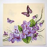 - Servítka K100- Fialky a motýle - 6662720_