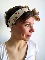 Ozdoby do vlasov - retro textilná čelenka na uväzovanie - 6660299_