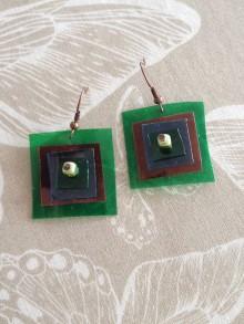 Náušnice - Štvorce, nausnice z PET stvorcov, plastic square - 6661320_