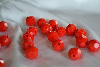 Korálky - Korálka sklenená brúsená červená 10mm, 0.15€/ks - 6660485_