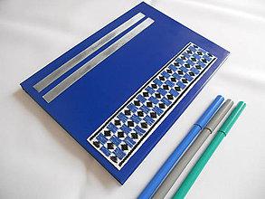 Papiernictvo - Modrý deň (zápisník vyšívaný) - 6664252_