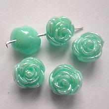 Korálky - Ružička plast 11mm-1ks (mint) - 6666751_