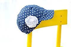 Detské čiapky - Letná šiltovka s kvetom denim&dots - 6666029_