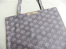 Nákupné tašky - Nákupka - Růžové kvítky na šedé - ekotaška - 6664817_