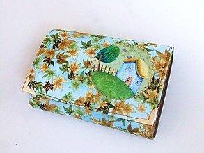 Peňaženky - V domečku, listím zapadaném - peněženka - 6664521_
