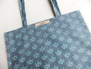 Nákupné tašky - Nákupka - Modré kvítky na šedé - ekotaška - 6664809_