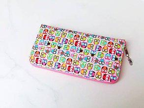 Peňaženky - Zipová peněženka - Veselé sovičky - 20cm, 10 karet - 6664941_
