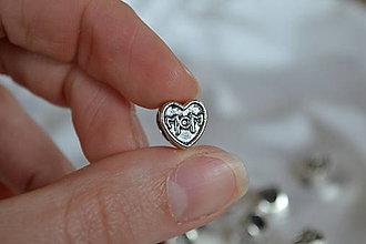 Korálky - Pandorková korálka srdce 10mm, 0.25€/ks - 6664353_