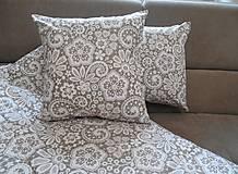 Úžitkový textil - vankúš 40x40 cm bežovo- snehovo biely s potlačenou krajkou - 6670129_