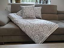 Úžitkový textil - vankúš 40x40 cm bežovo- snehovo biely s potlačenou krajkou - 6670132_
