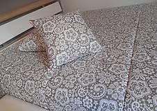 Úžitkový textil - vankúš 40x40 cm bežovo- snehovo biely s potlačenou krajkou - 6670134_