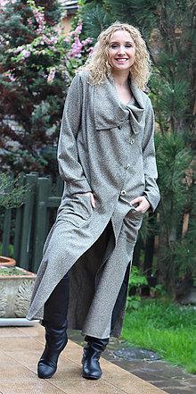 Kabáty - Béžovočerný kardigan - dlouhý - 6673141_