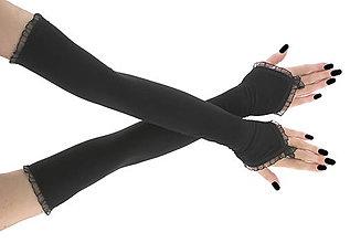 Rukavice - Dámské čierné spoločenské rukavice 0025P - 6675456_