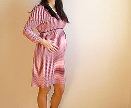 Tehotenské oblečenie - Pruhované šaty pre tehulky - 6675119_