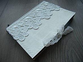 Papiernictvo - Čipkovaný zápisník - biela čipka - 6675362_