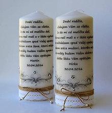 Darčeky pre svadobčanov - Dekoračná sviečka - poďakovanie svadobným rodičom - 6674542_