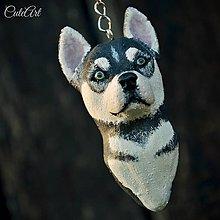 Kľúčenky - Sibírsky husky (šteniatko) - kľúčenka podľa fotografie - 6675375_