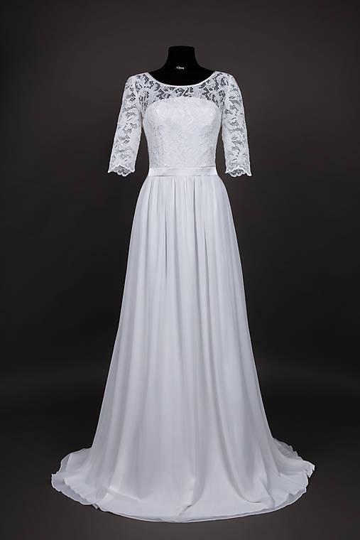 37d1a3f67859 Svadobné šaty s trištvrťovým rukávom a U chrbátom   Dyona - SAShE.sk ...