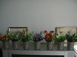 Drobnosti - mini-vazičky s kvetinkami a so srdiečkom - 6678697_