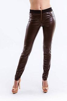 Nohavice - Koženkové nohavice hnedé - 6679601_