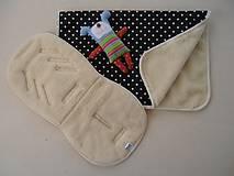 Textil - Merino pre deti Deka a podložka do kočíka Black and white - 6676894_