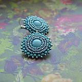 Turquoise Earings  - vyšívané náušnice
