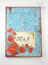 Kniha hostí - modrá s hrdzou a kvetmi makov