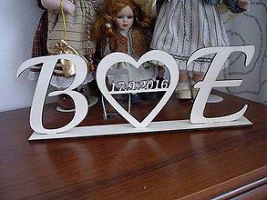 Polotovary - Iniciálky + srdce na svadobný stôl - 6679324_