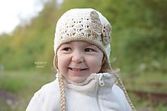 Detské čiapky - Prechodná ušianka so vzorom ...