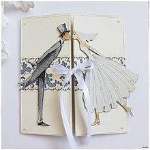 Papiernictvo - Svadobná pohľadnica s ľudovým motívom - 6679795_
