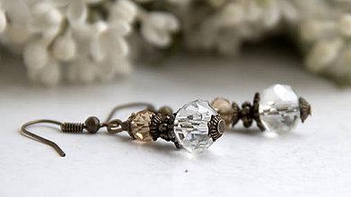 Náušnice - Rondelky z brúseného skla - číre - 6680044_