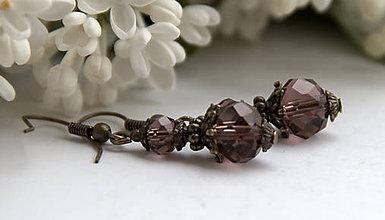 Náušnice - Náušničky z brúseného skla - amethyst - 6680073_