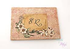 Vintage ružová kniha hostí s viktoriánskymi kvetmi