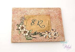Papiernictvo - Vintage ružová kniha hostí s viktoriánskymi kvetmi - 6680140_