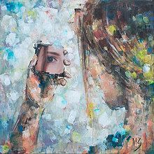 Obrazy - Autoportrét maľba vs. realita. 40x40, originál - 6680930_
